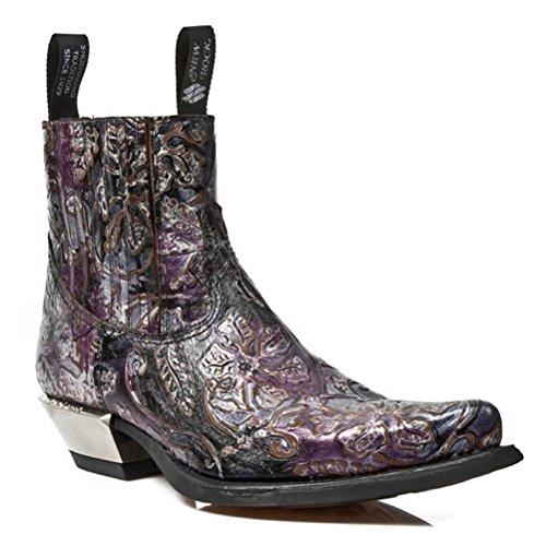 NEWROCK New Rock Boots Style M.7953 S23 Purple Mens Vintage Flower Steel Heels
