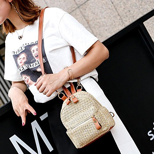 Bag Satchel Beach Mini Hollow Women Light Shoulder Backpack Brown Weave Everpert Straw Schoolbag a1pzqwAScX