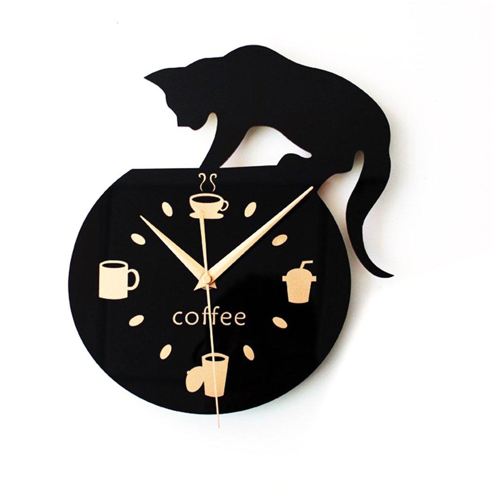 WINOMO Silenzio Cartoon orologio da parete Carino Arrampicata Gatto per bere caffè orologio da parete Decorazione tazza caffè orologio
