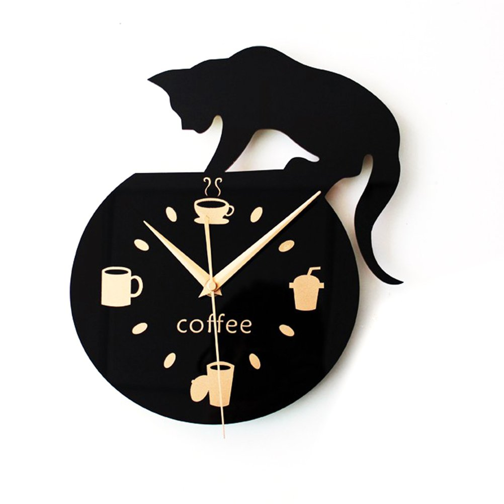 WINOMO Black Wall Clock Silent Cartoon Cute Climbing Cat Wood Clock Wall Decoration