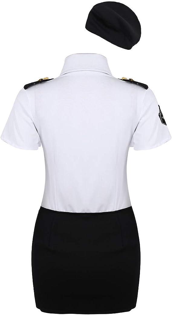 ranrann Disfraz de Policía para Mujer Adulta Cosplay Traje de Police Uniforme de Policía Conjunto de Ropa Erótica 4Pcs Costume Traje de Fiesta Halloween: Amazon.es: Ropa y accesorios