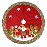 Image of Christmas Tree Skirt Ornament Burlap Tree Skirt 48 Inch with Snowman Snowflak Red and Green Stitched Edge Xmas Decoration