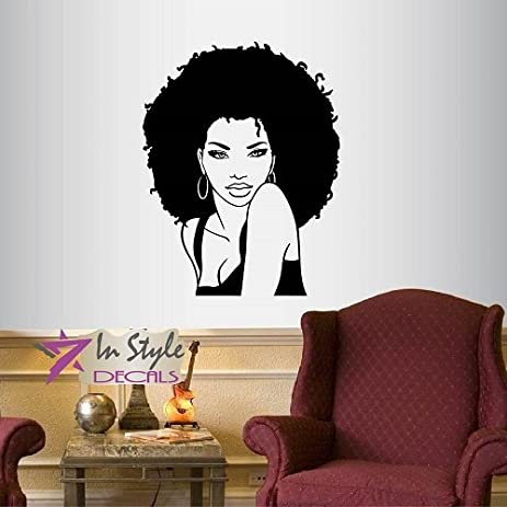 wall vinyl decal home decor art sticker beautiful sexy girl woman lady with afro hair face - Woman Home Decorating