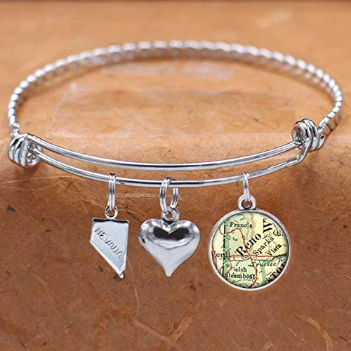 Nevada Map Bracelet Reno NV USA States Cities Towns Vintage Map Jewelry and Gifts]()