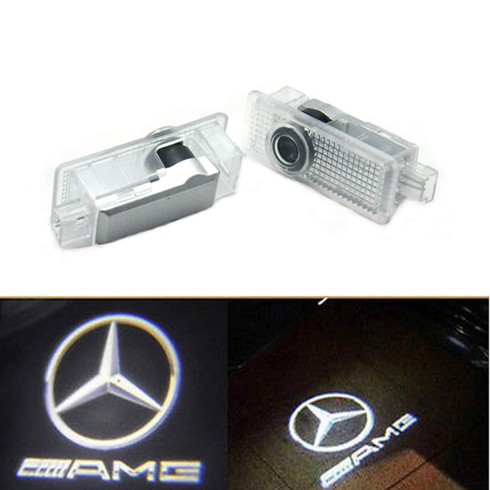 CLA-AMG logo ZHANGNA 2 Piezas LED Car Puerta Logo Proyector Bienvenido Ghost Sombra Luz Iluminaci/ón