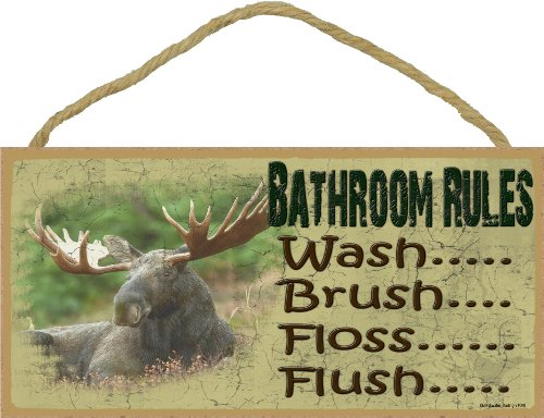 (Blackwater Trading Moose Bathroom Rules Brush Wash Flush Floss Sign Plaque Lodge Cabin 5