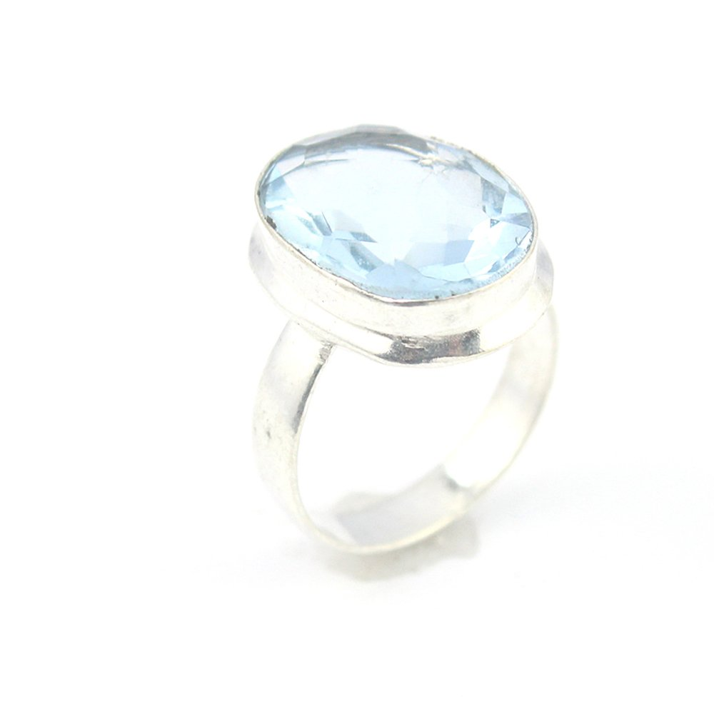 HIGH FINISH BLUE QUARTZ FASHION JEWELRY .925 SILVER PLATED RING 8 S24009