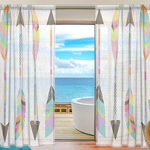 (XiangHeFu Sheer Curtain Tulle Rainbow Tribal Feather Arrows Voile Window Curtains for Bedroom,55(W) x84(L) Inch,2)