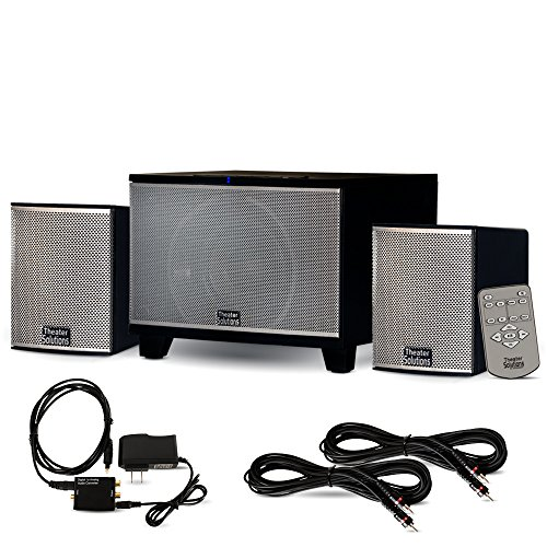 Theater Solutions TS220 Powered Bluetooth 2.1 Speaker System with Optical Input and 2 Extension Cables by Theater Solutions