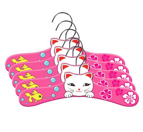 Kidorable Pink Lucky Cat Hand Crafted Fun Wooden Hangers for Girls, Set of 5, 12 Inches