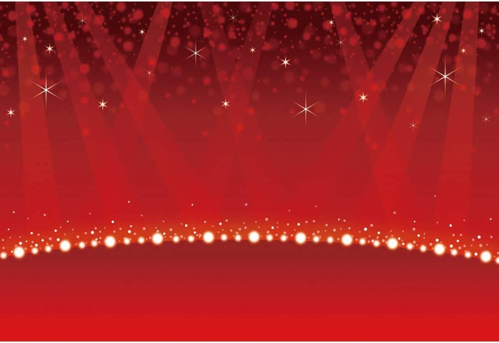 YEELE Dreamy Red Stage Photography Backdrop 10x8ft Shining Stars Kids Birthday Party Wedding Bridal Baby Shower Background VIP Fashion Show Catwalk Show Activity Photobooth Props Digital Wallpaper