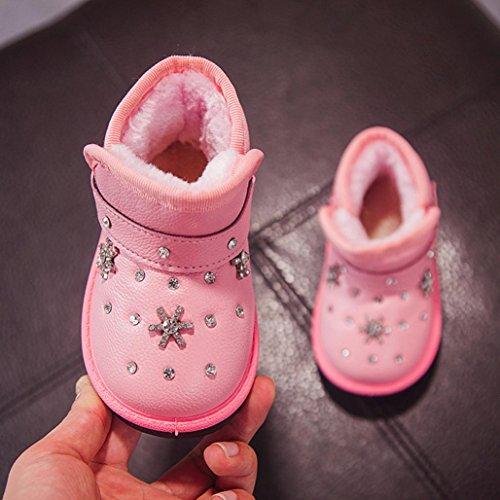 Upxiang Baby Strass Stiefel Ferse Flash Kinder Leucht Schuhe Sneakers Boot Baby Mädchen Herbst Cartoon Fell Warm Kleinkind Schuhe Schneeschuhe Rosa