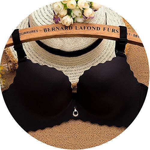 Bra Seamless Wire Free Push Up Bra Smooth Underwear Women Sexy Bras,Black,90C