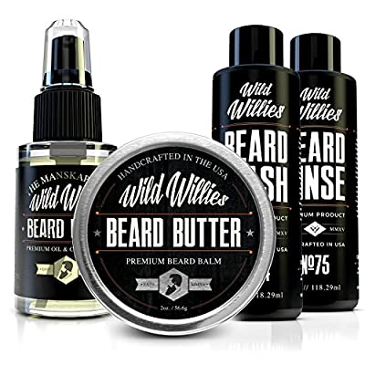 ULTIMATE Beard/Mustache Grooming Kit for men - Every tool you need in one box to have perfect facial hair! Including Beard Oil, Beard Balm, Beard Wash & Beard Soft. For personal use or as a gift set.