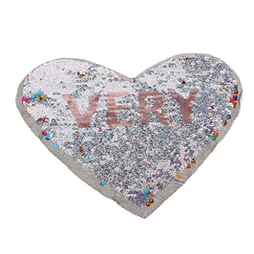 Reversible Heart-Shaped Sequins Patches Embroidery Sewing Appliques - Very