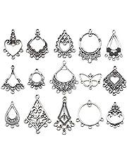 مجموعة مجوهرات حلق عتيق من يوديلا، 60 حلقة، درجة فضية عتيقة، مجموعة من الثريا الموصل بثريا كبيرة من المعدن لصناعة القرط (HM268)