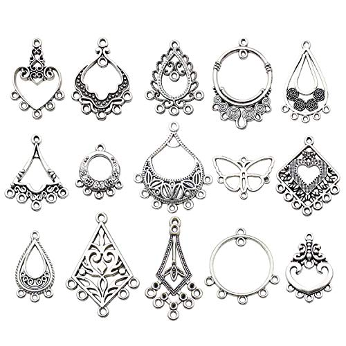 - Youdiyla 60 Vintage Hoop Earring Charms Collection, Antique Silver Tone, Large Filigree Chandelier Connector Metal Pendant Craft Supplies Findings for Vintage Hoop Earring Making (HM268)