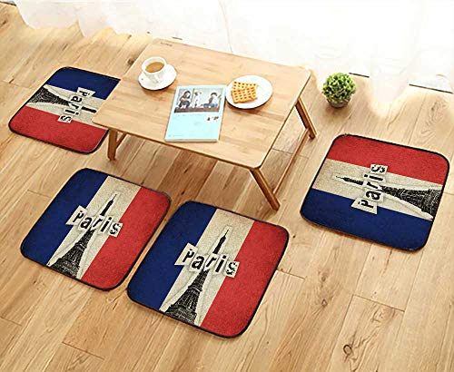 French Country Living Chair Pad - Elastic Cushions Chairs Grunge Flag of France French Country with Eiffel Tower and Text for Living Rooms W29.5 x L29.5/4PCS Set