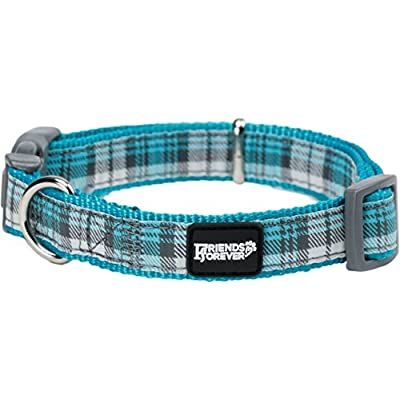 """Friends Forever Dog Pattern Collar Double Layer Woven Checks Green Small 11-16"""""""