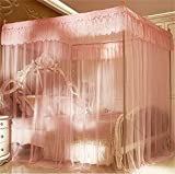 Royal- European style Square Top mosquito net Three-door Encryption Double bed Princess style stainless steel bracket Pink ( Color : 2.0m (6.6 Feet) Bed , Size : Diameter 25mm )