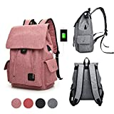 GuiShi(TM) Women Girls Casual polyester Backpack Purse Travel Work College School Bag with USB Charging Port (Pink)