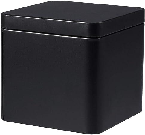 Upkoch Boite En Metal Etain Carre Boite Rangement Conteneur De Stockage Avec Couvercle Pour Bijoux Bougie The Bonbon 13x8x6cm Noir Amazon Fr Cuisine Maison