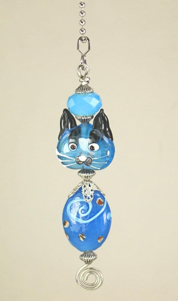 Blue Glass Kitty Cat Ceiling Fan Pull Chain/Light Pull