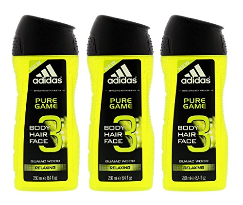 (Adidas Pure Game 3-in-1 Relaxing Shower Gel, Shampoo & Face Wash 8.4fl oz.(Pack of 3))