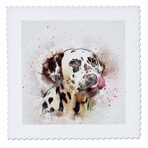 3dRose Sven Herkenrath Animal - Dalmatiner Watercolor Dog Pet Puppy Funny Animal Portrait - 16x16 inch quilt square (qs_280292_6) by 3dRose
