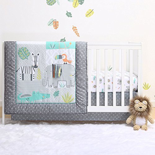 Jungle Animal Print (Safari 4-Piece Jungle Animal Theme Baby Crib Bedding Set by Little Haven)