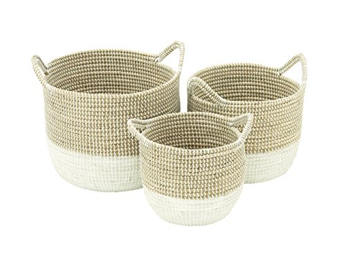 "CosmoLiving by Cosmopolitan 41145 Large Round Natural & White Dip-Dyed Seagrass Baskets with Handles & White Metal Cording | Set of 3: 18"" x 15"", 16"" x 13"", 13"" x 11"" - Color: silver Finish: polished, textured Material: aluminum - living-room-decor, living-room, baskets-storage - 51mpufoGofL -"