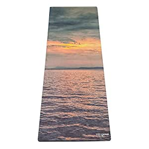 THE TRAVEL YOGA MAT by YOGA DESIGN LAB   Lightweight, Foldable, Eco Luxury Mat/Towel   Designed in Bali   Ideal for Hot Yoga, Bikram, Pilates, Barre, Sweat   1mm Thick   Includes Carrying Strap! (Sunset)
