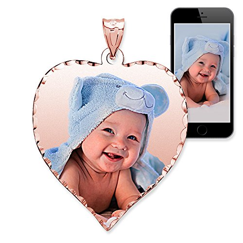 PicturesOnGold.com Personalized Photo Engraved Heart Shaped Custom Photo Pendant/Photo Necklace/Photo Charm with Diamond Cut Edge - 3/4 Inch x 3/4 Inch (14k Rose Gold)