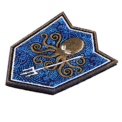 Dolity Parche Decorativo Adorno Costura Diseño de Pulpo Dibujos Animados de Costura - Azul