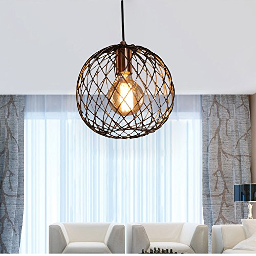 FOSHAN MINGZE Industrial Retro Edison Hanging Pendant Lighting Metal Globe Shade Bronze Finish