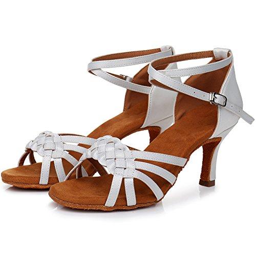 Salsa White Shoes Women's SWDZM Rumba Dance Standard Ballroom 7cm LP218 Model Latin Heel Chacha gPA0IqA