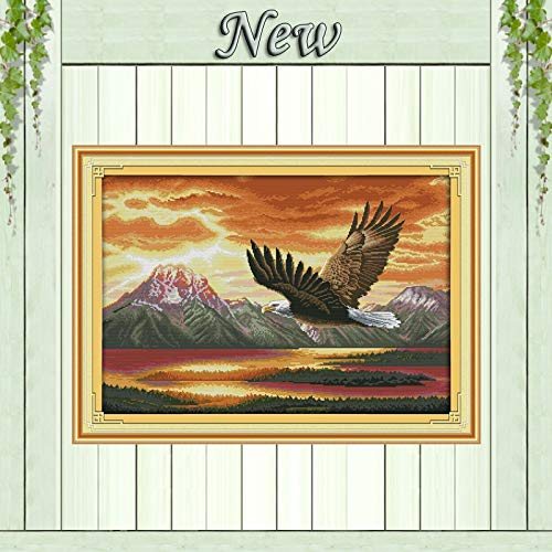 Zamtac The Flying Eagle,Counted Printed on Fabric DMC 11CT 14CT Cross Stitch Kits,Needlework Sets All for Embroidery,Animal Home Decor - (Cross Stitch Fabric CT Number: 11CT Printed)