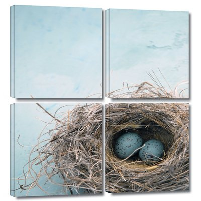 'Blue Nest' by Elena Ray 4 Piece Graphic Art on Canvas Set 0ray017e3636w