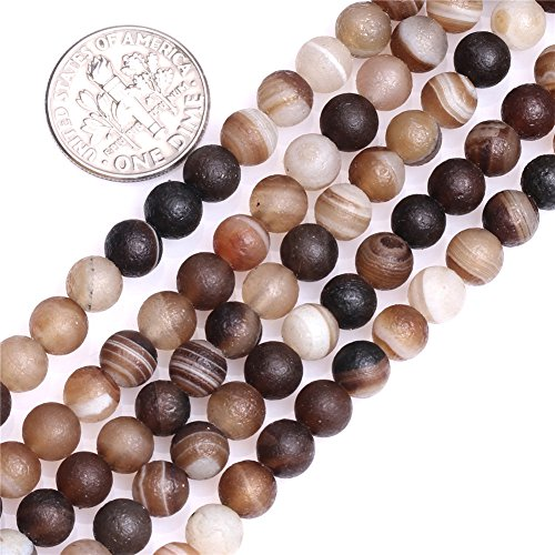 6mm Natural Semi Precious Round Frost Banded Gray Agate Gemstone Beads for Jewelry Making Strand 15