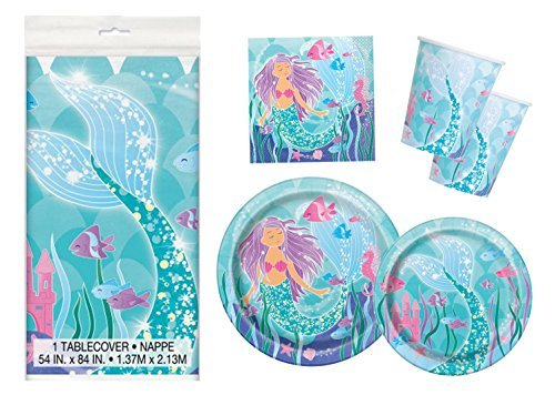 Mermaid Birthday Party Supplies Pack - Serves 16 -