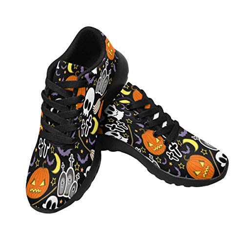 INTERESTPRINT Running Shoes Lightweight Sport Sneakers Casual Athletic Shoes for Women US10 Halloween Pumpkins ()