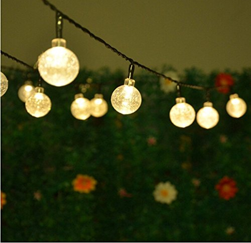 Solar String Lights,Hann 20ft 30 LEDs Crystal Ball 8 Working Modes Waterproof Outdoor String Lights Solar Powered Globe Fairy String Lights for Garden, Yard, Home, Landscape,Christmas Party