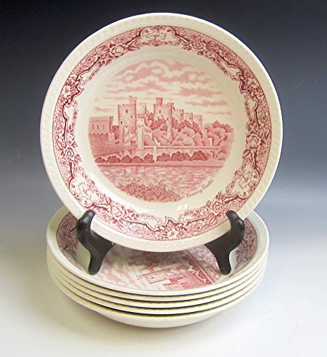 Lot of 8 Ridgway China HISTORIC CASTLES-PINK Coupe Soup Bowls VERY GOOD