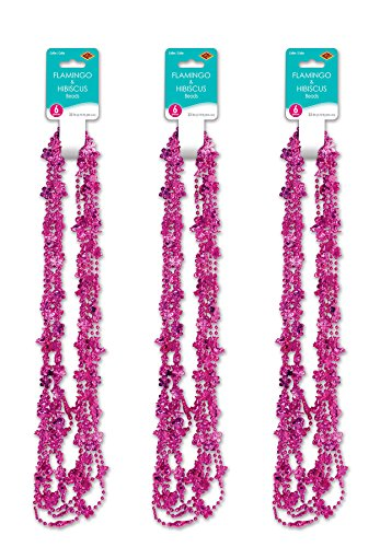 Beistle 52172 18 Piece Flamingo and Hibiscus Party Beads, 33