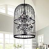 Warehouse of Tiffany Manrosa Black 20-inch Cage Crystal Pendant