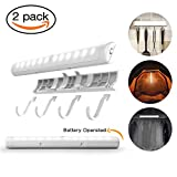 Portable LED Night Light with Adhesive Hooks - Battery Operated Wireless Bathroom Cabinet Light & 12 Bright Vanity LEDs Tape Light for Under Cabinet , Stair , Wardrobe ( White , 2 Motion Sensor Mode )