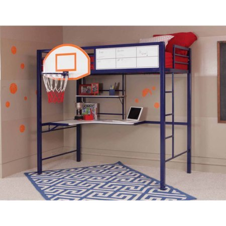 Awesome Modern Kids Boys Twin Loft Bunk Bed With Full Size Basketball Hoop Backboard L-Shaped Computer Work Desk With Shelves Storage Organizer- Every Budding Young Superstar Should Have This Item