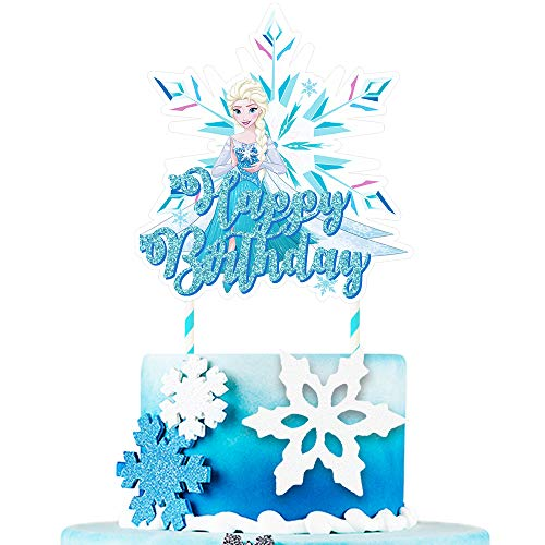 Frozen Themed Birthday Cake (Cake Topper for Frozen Ice Cupcake Decorations Birthday Party Topper for Children, 1)