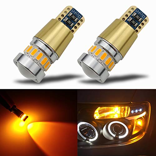 iBrightstar Newest 12-24V Super Bright 194 168 175 2825 W5W T10 LED Bulbs with projectors For Car Interior Dome Map Door Courtesy License Plate Side Marker Lights,Amber Yellow -