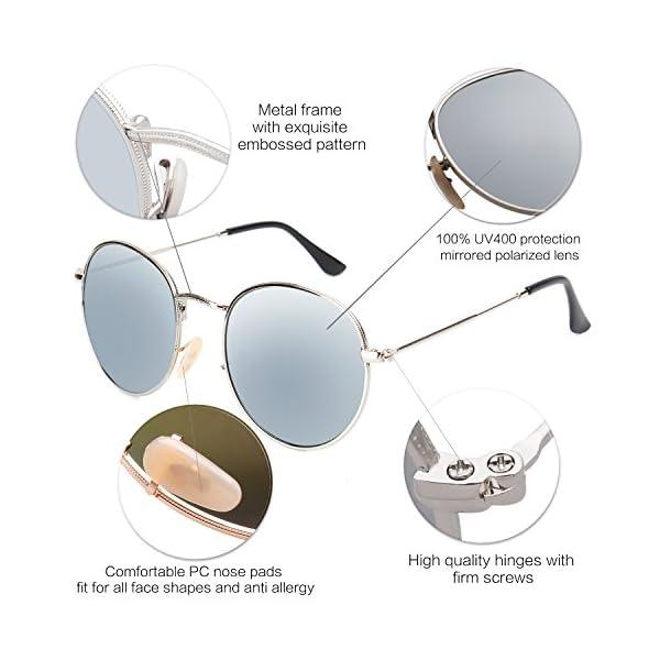 59d661c16d SOJOS Small Round Polarized Sunglasses Mirrored Lens Unisex Glasses SJ1014  3447